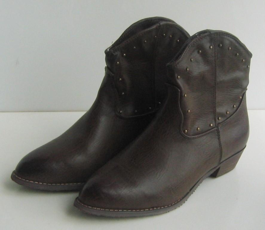 new womens cowboy studs flat ankle boots shoes sz6 5 8 ebay