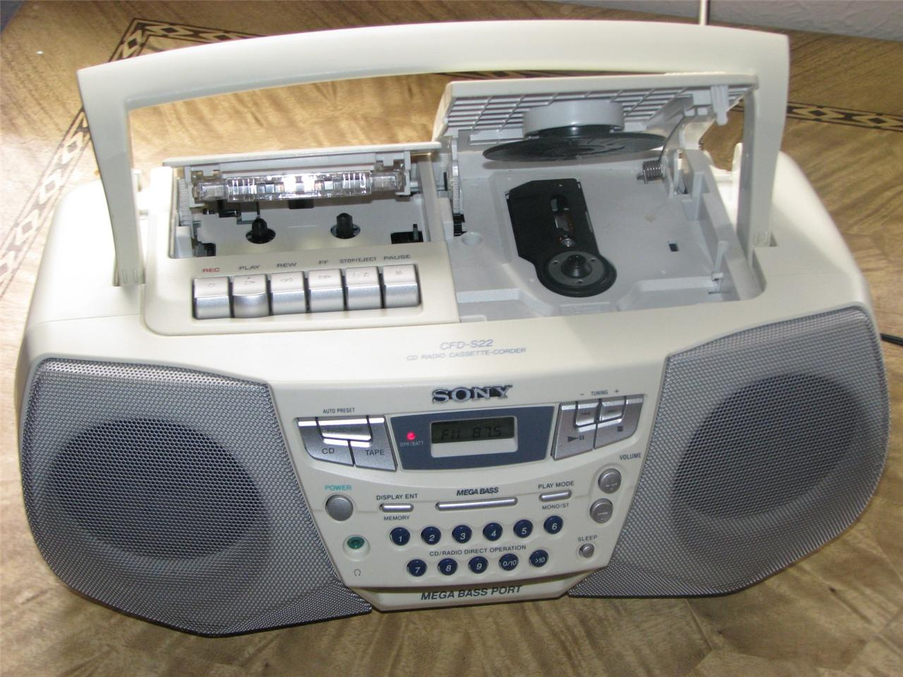 Boombox cd cassette corder am fm radio player white mint ebay