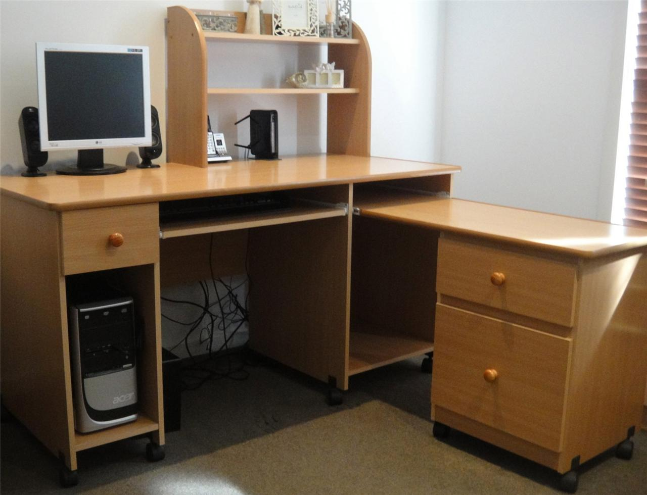 Corner Computer Study Home Office Executive Desk Bookcase Shelves L . Full resolution‎  image, nominally Width 1280 Height 980 pixels, image with #6B4724.