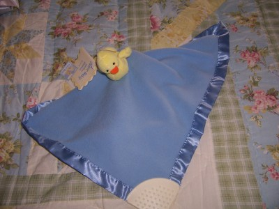 Sailor Baby Blue Security Blanket Lovey Yellow Duck Rattle