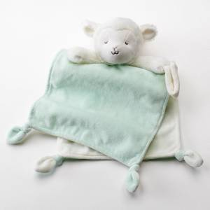 Carters Plush Lamb Rattle Knotted Mint Security Blanket