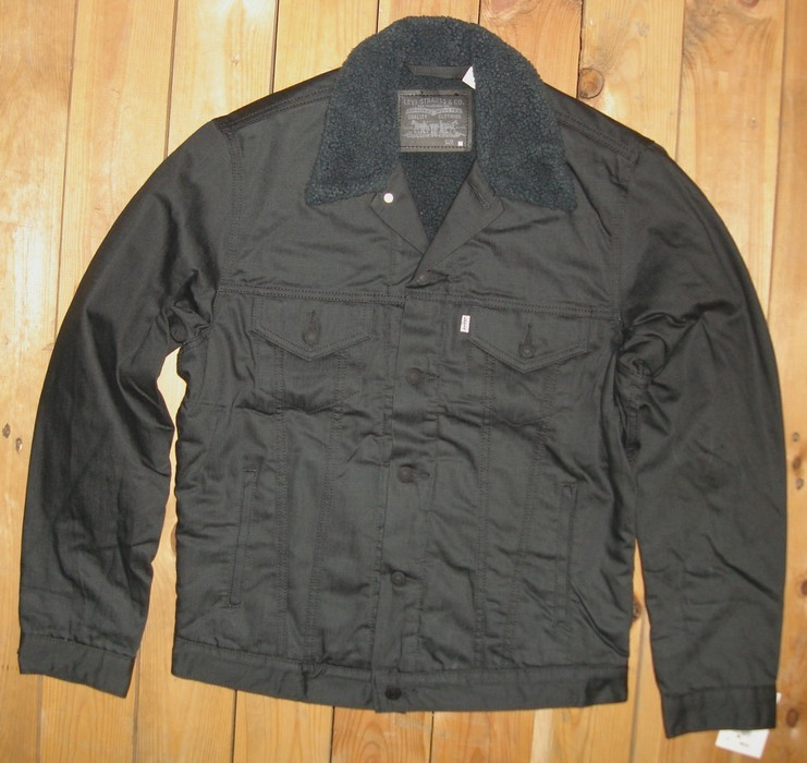 levi 39 s men 39 s twill sherpa graphite trucker jacket nwt l xl xxl m ebay. Black Bedroom Furniture Sets. Home Design Ideas