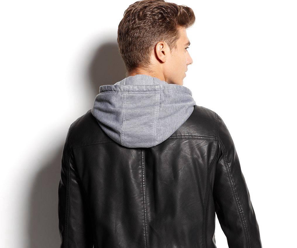 Leather jacket hoodie - Levis Mens Jacket Faux Leather Knit Hoodie 200