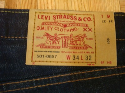 VINTAGE REPRO LEVIS 501 BIG E RED LINE DENIM PANTS SZ 34