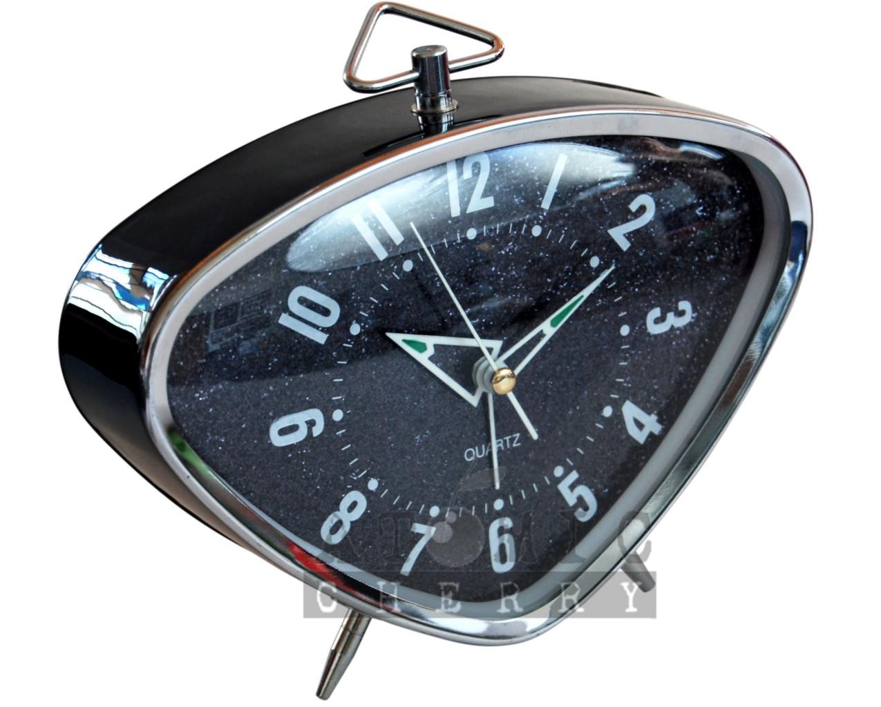 retro alarm clock black glitter rockabilly 50s 60s 70s ebay. Black Bedroom Furniture Sets. Home Design Ideas