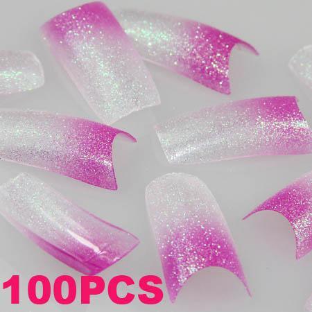 100-GLITTER-Light-Purple-Clear-Fashion-False-French-Acrylic-Nail-Tips-New
