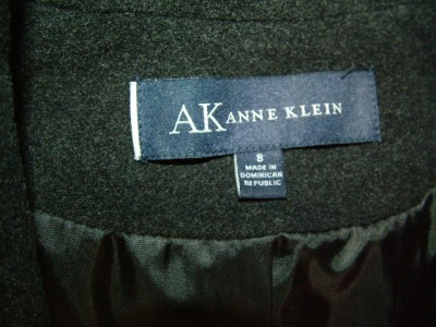 NWT $155.00 Anne Klein Womens Charcoal Belted Double Breasted Wool