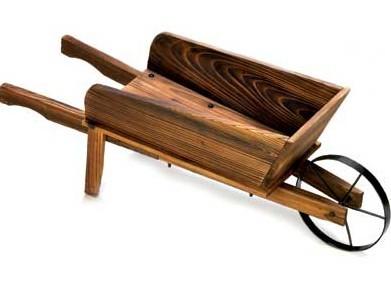 wheel barrel wagon flower plant stand planter cart wood ebay. Black Bedroom Furniture Sets. Home Design Ideas