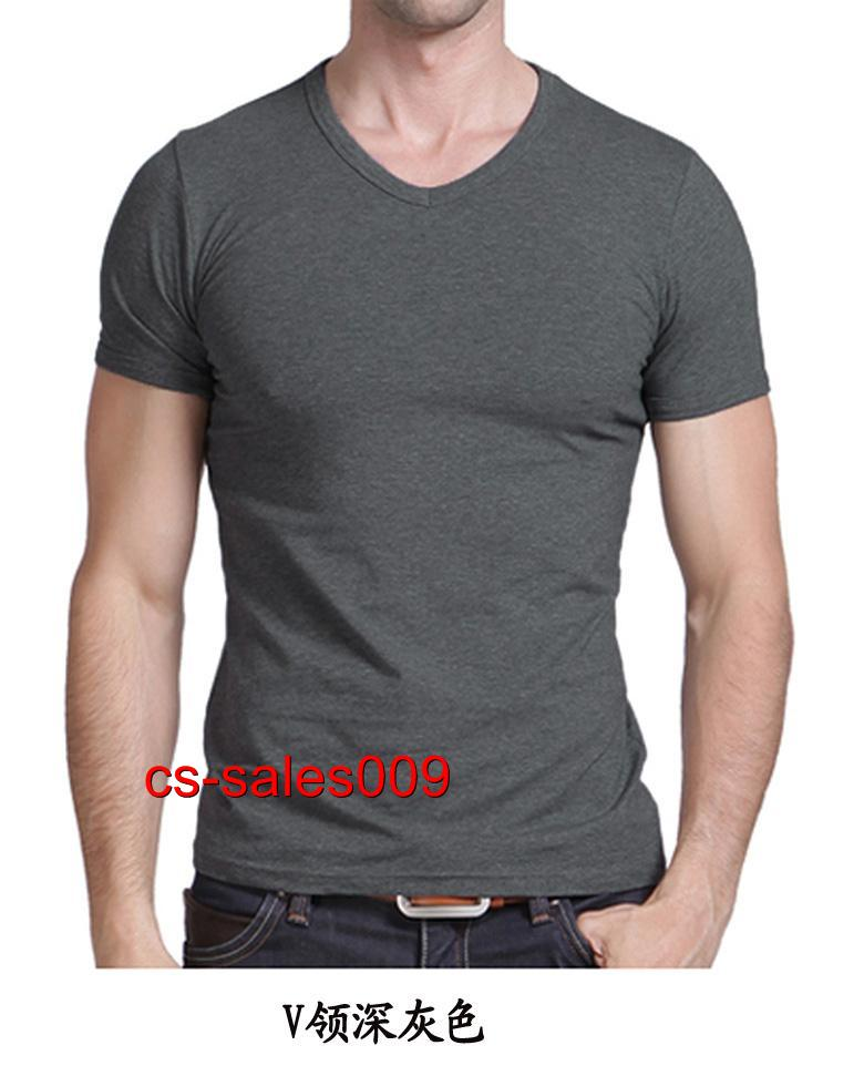 Black Lycra Cotton Mens Shirt Short Sleeve V Neck Slim