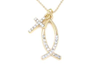 Christian fish symbol cross gold tone crystal charm for Christian fish necklace