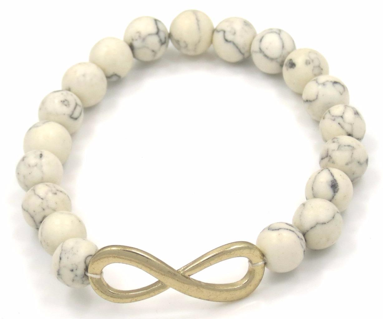 Infinity Symbol Cross Horseshoe Charm Bracelet Silver Gold Beaded 12