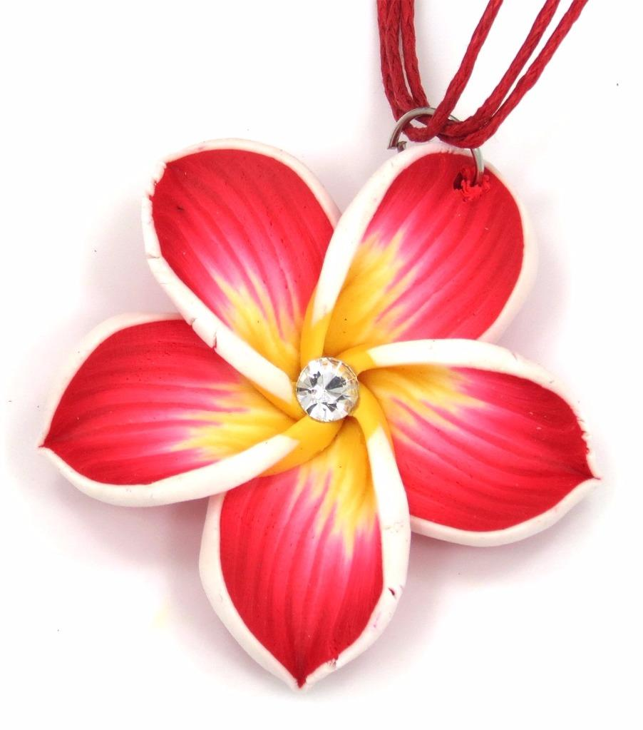 Beautiful Plumeria Hawaiian Flower Pendant Charm Matching Necklace