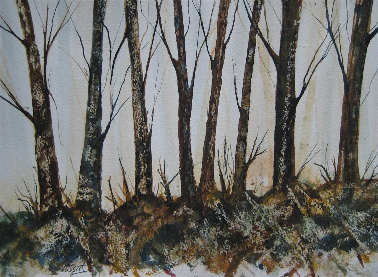 Watercolour Silver Birch Trees Autumn Woods Winter