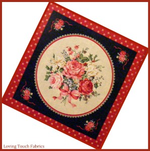 RED CHRISTMAS MIXED FLORAL ROSES HOLLY QUILT / PILLOW PANEL 16 X 16