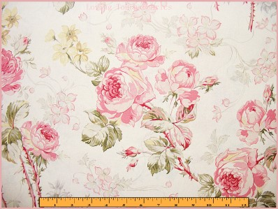 Rare 1996 victorian floral pink roses cotton fabric sold for Victorian floral fabric