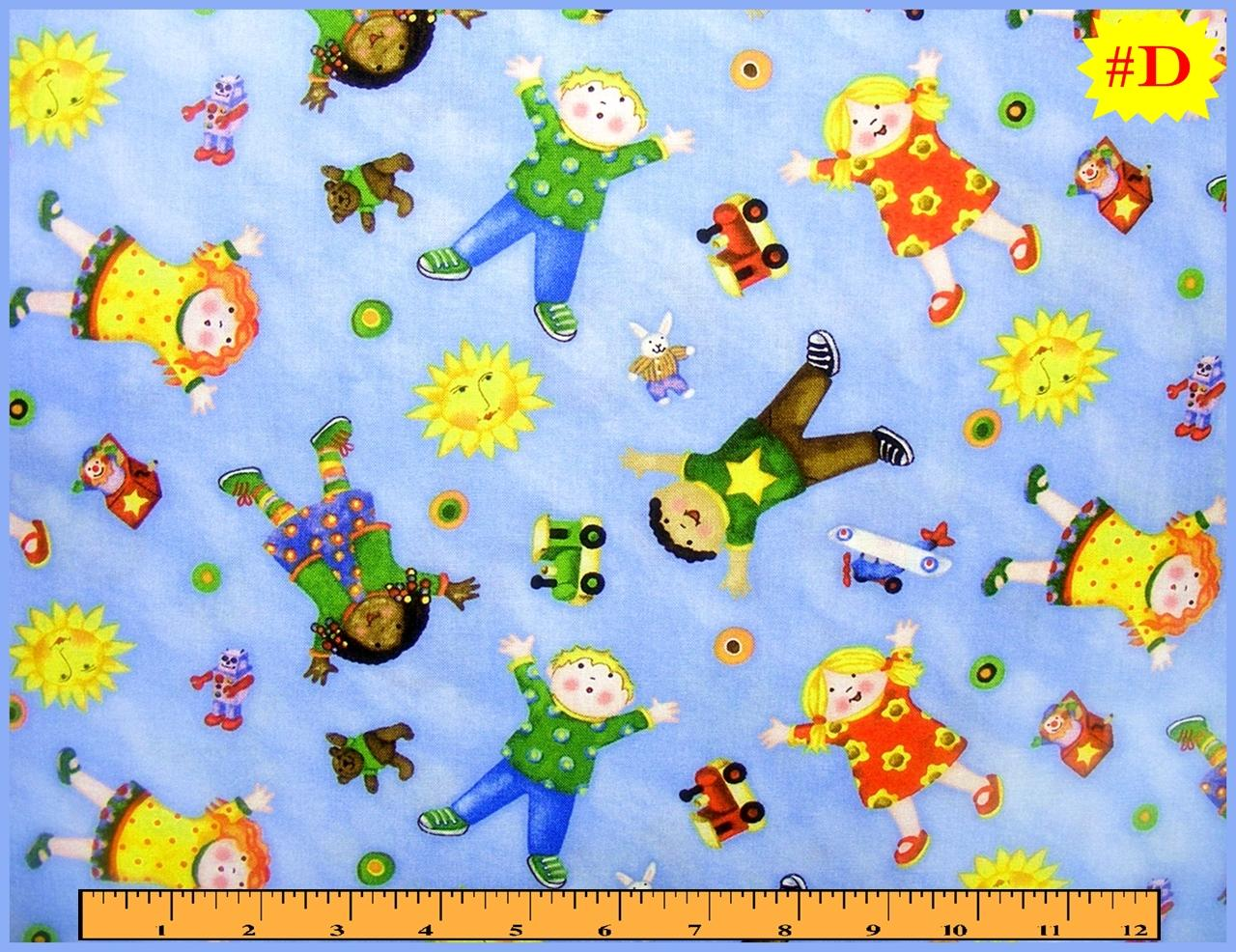 Children spring words sayings toys fabric panels strips for Childrens fabric