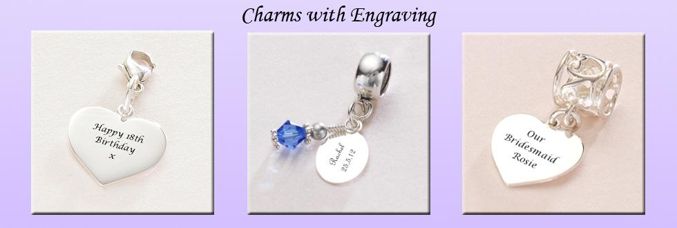 Silver Charms with Engraving