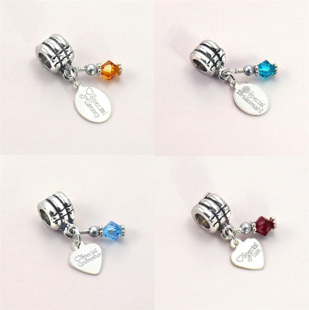 birthstone bracelet charm with stg silver engraved tag on