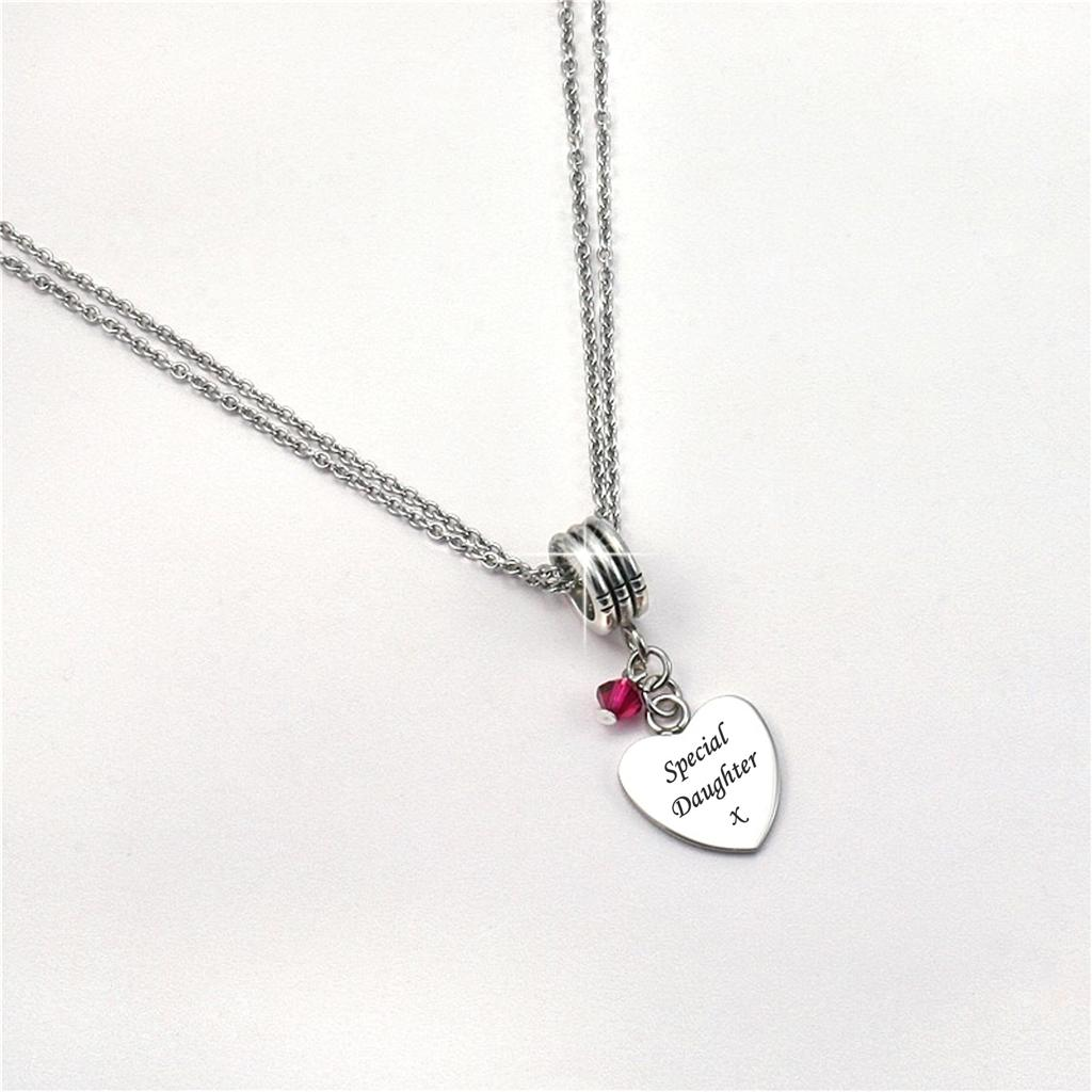 Necklace with ANY Engraving & Birthstone. Personalised Jewellery ...