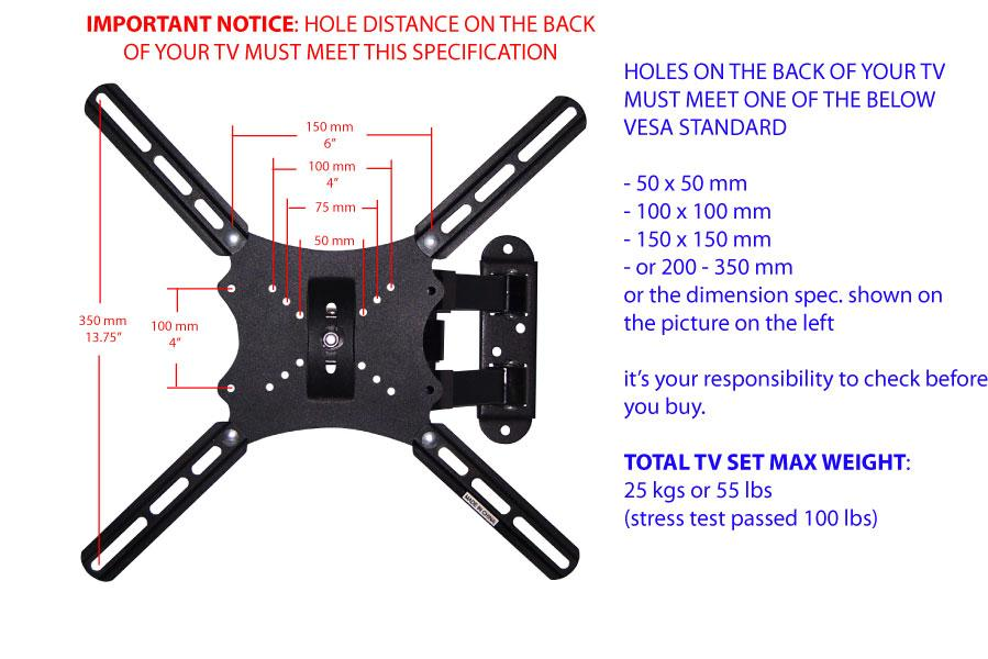 Full Motion Articulating Swivel Tilt TV Wall Mount 20 22 26 32 36 40 42 LCD LED