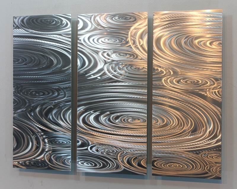 Contemporary metal abstract modern silver wall art for Silver wall art