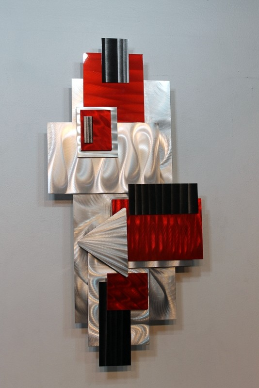 Metal abstract modern painting wall art sculpture red for Red metal wall art