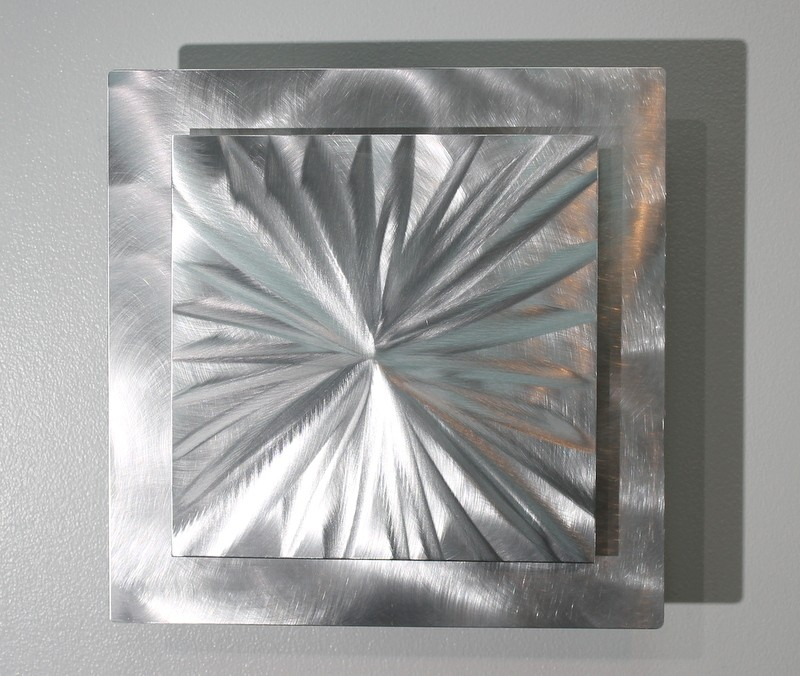 Contemporary Silver Wall Decor : Metal abstract modern silver wall art sculpture