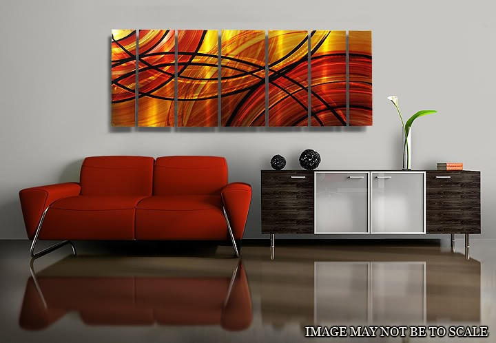 contemporary red metal wall art home decor bound by fire jon allen