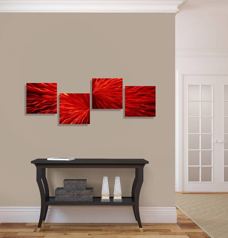 Modern red 4 piece metal wall art accent contemporary for Modern decorative pieces