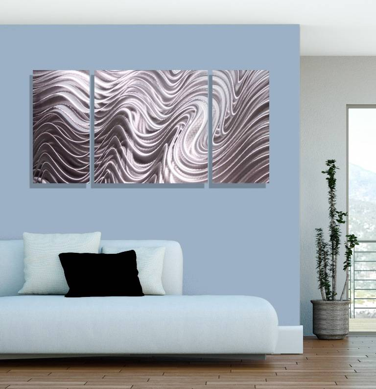 abstract silver metal wall art decor hallucination iii by jon allen