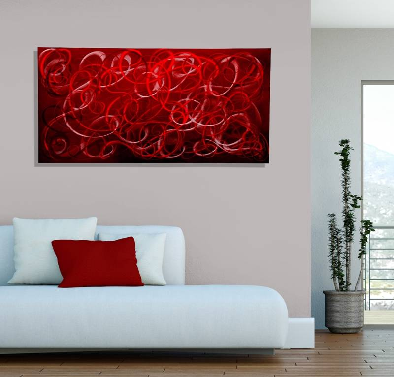 modern metal wall art red contemporary home decor scarlet chaos by