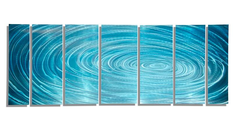 metal wall art painting home decor aqua ripple by jon allen ebay
