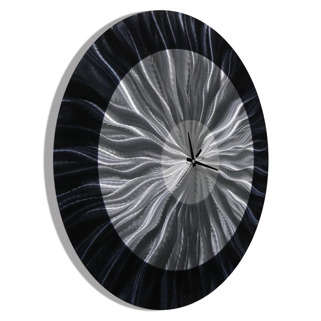 Round Black Wall Decor : Abstract modern black round metal wall clock art circle