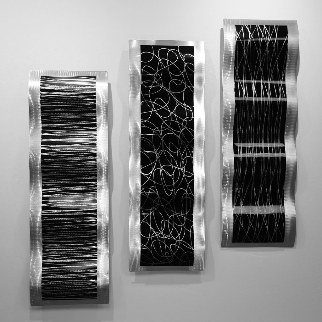 Contemporary Silver Wall Decor : Black silver modern metal wall sculpture accent