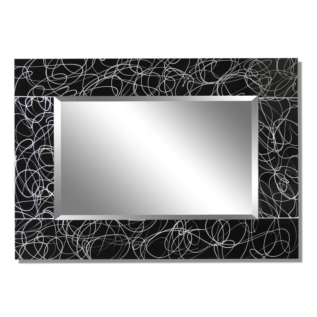 abstract modern black and silver metal wall art mirror