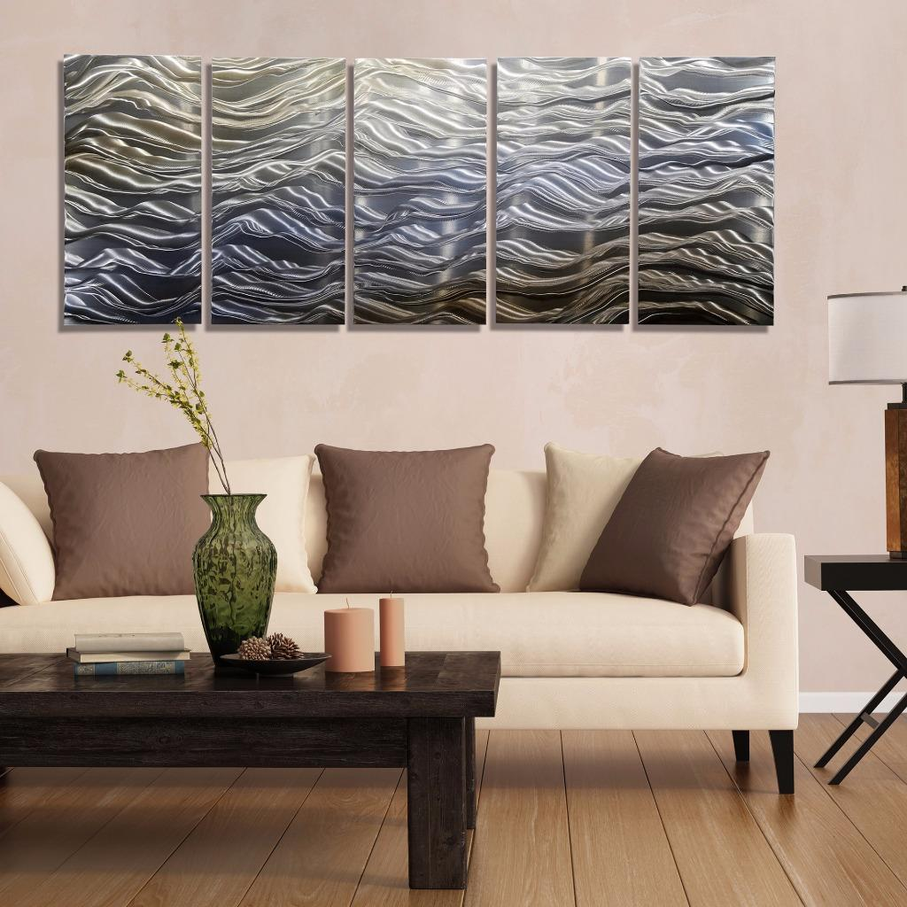 Wall Decor Silvers: Contemporary Abstract Gold Blue Silver Painted Metal Wall