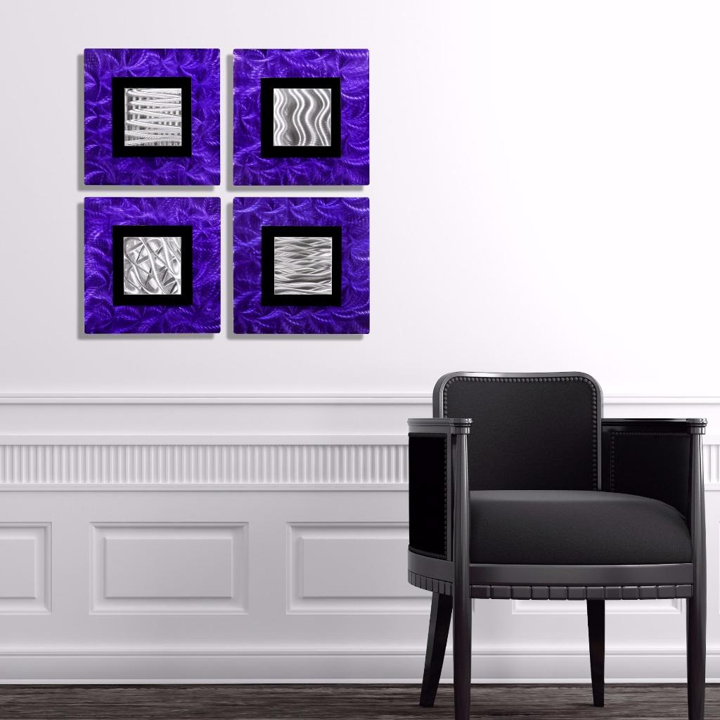 abstract purple silver black square metal wall art accent decor urban vibes ebay. Black Bedroom Furniture Sets. Home Design Ideas