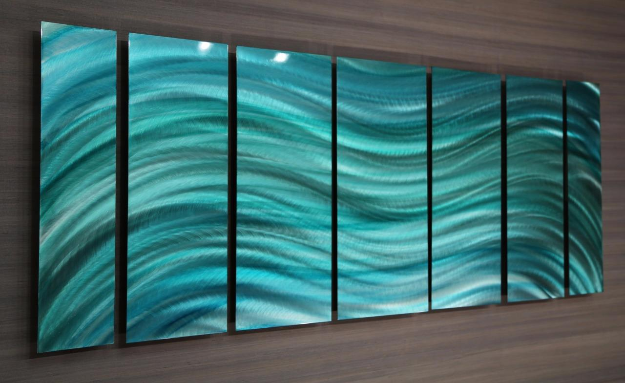 inspired aqua contemporary metal wall art by jon allen ooak 118 ebay