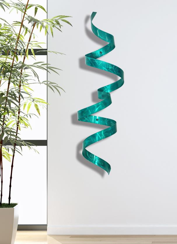 teal metal wall twist sculpture abstract modern wall art decor jon