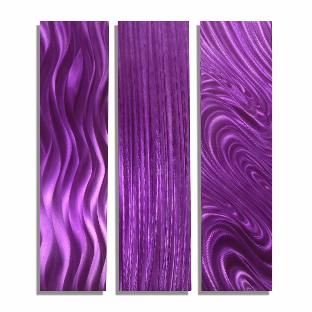 modern purple art abstract metal wall decor purple trilogy by jon allen ebay. Black Bedroom Furniture Sets. Home Design Ideas