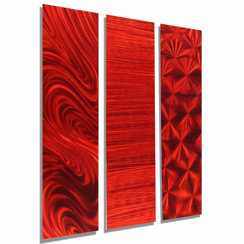 Vibrant red abstract 3 piece modern metal wall art for Red metal wall art