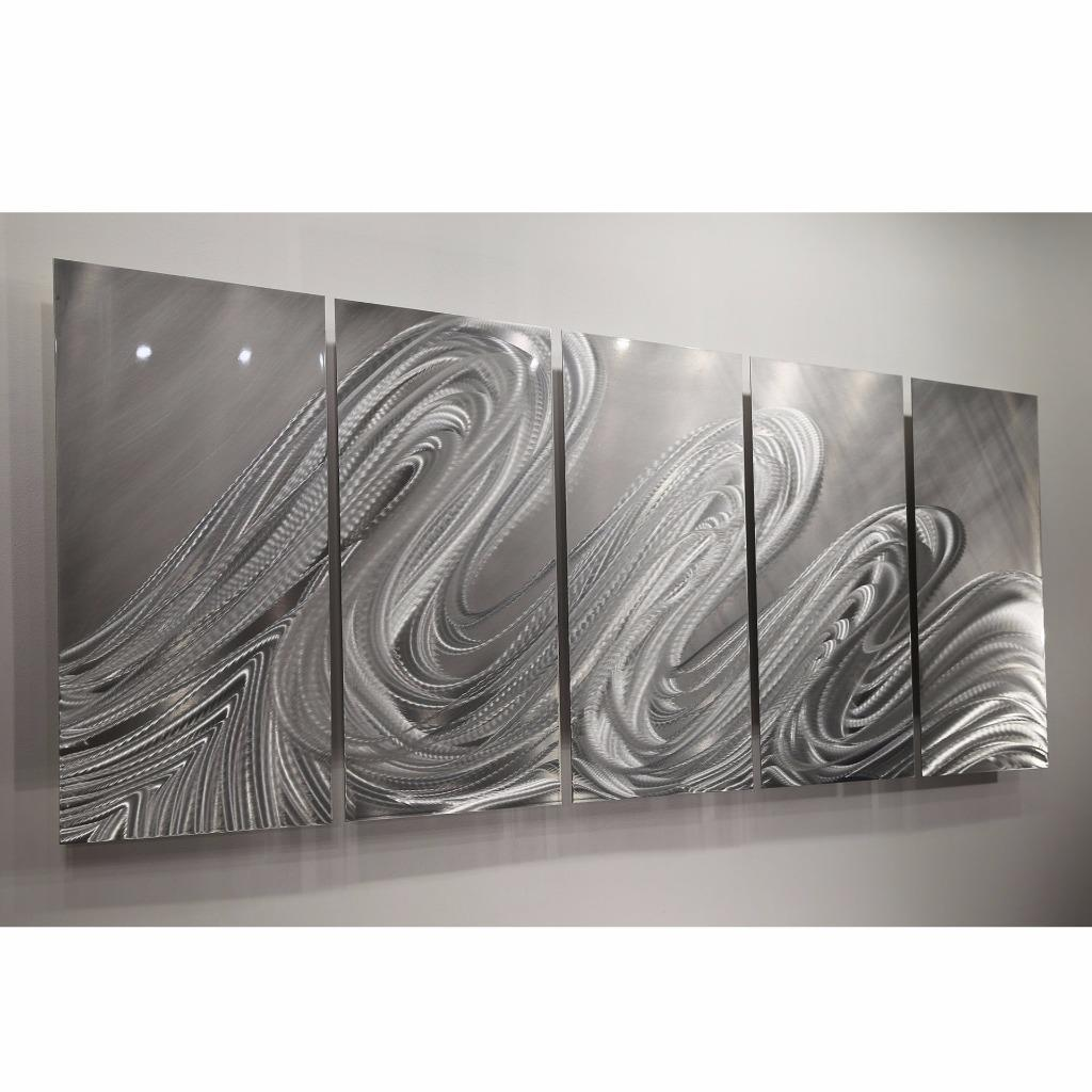 Contemporary Silver Wall Decor : Silver modern metal wall sculpture contemporary
