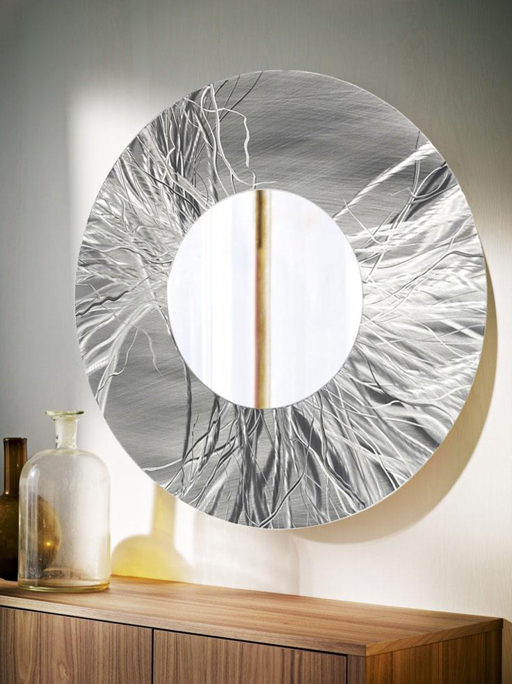 Large round silver contemporary metal wall mirror art for Large silver modern mirror