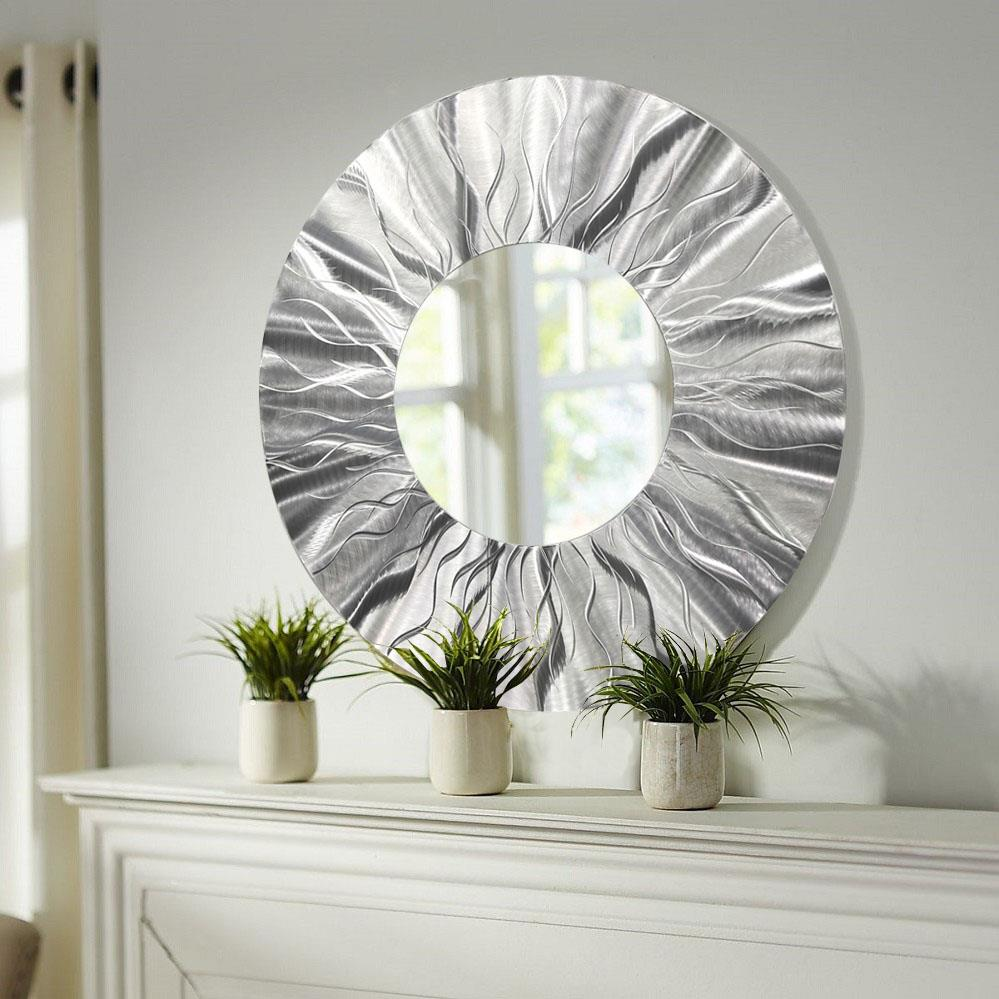 Handmade round modern metal wall art contemporary mirror for Mirror wall art