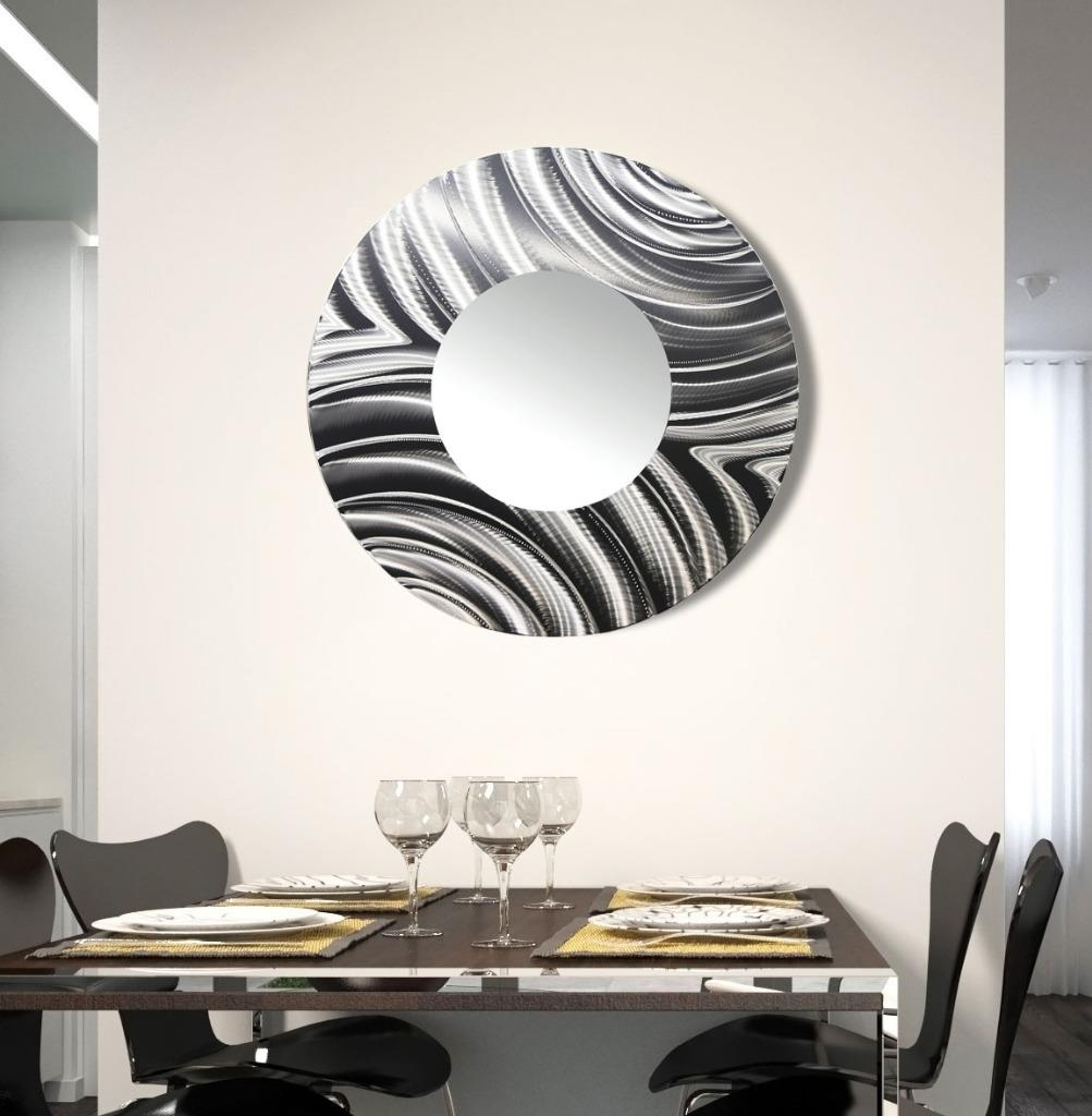 Large round all silver metal wall mirror modern wall art for Modern mirrored wall art