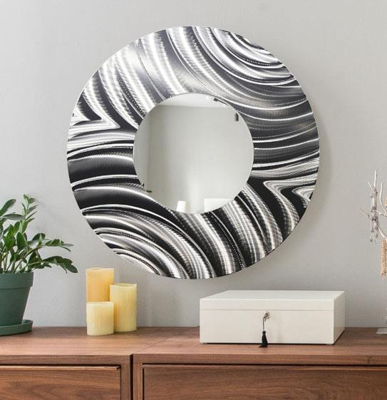 Oversized Round Wall Decor : Large round all silver metal wall mirror modern art