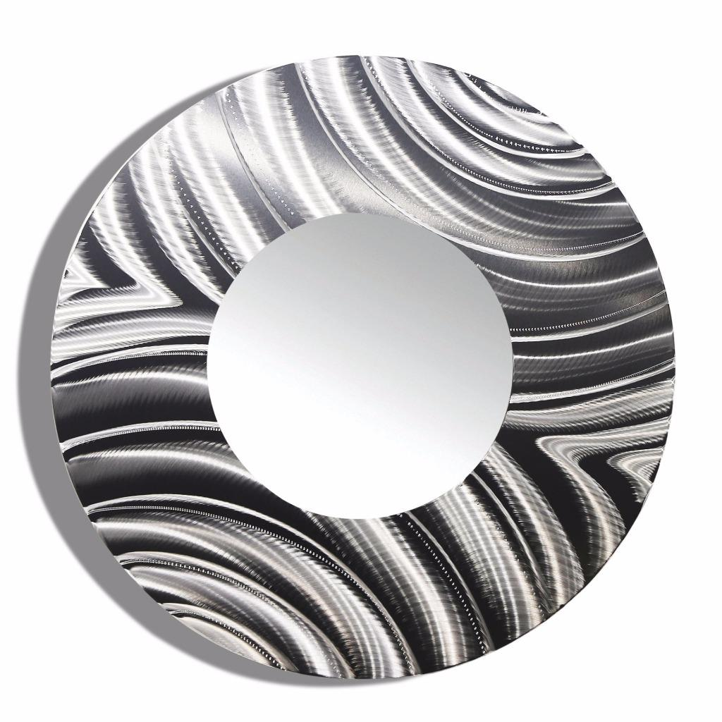 large round all silver metal wall mirror modern wall art decor by jon allen ebay. Black Bedroom Furniture Sets. Home Design Ideas