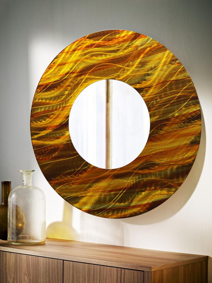 gold amber abstract large round metal wall art mirror decor accent by jon allen. Black Bedroom Furniture Sets. Home Design Ideas
