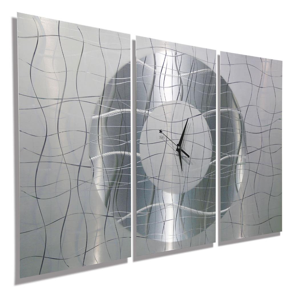 Large modern white silver metal abstract wall clock for Silver wall clocks modern