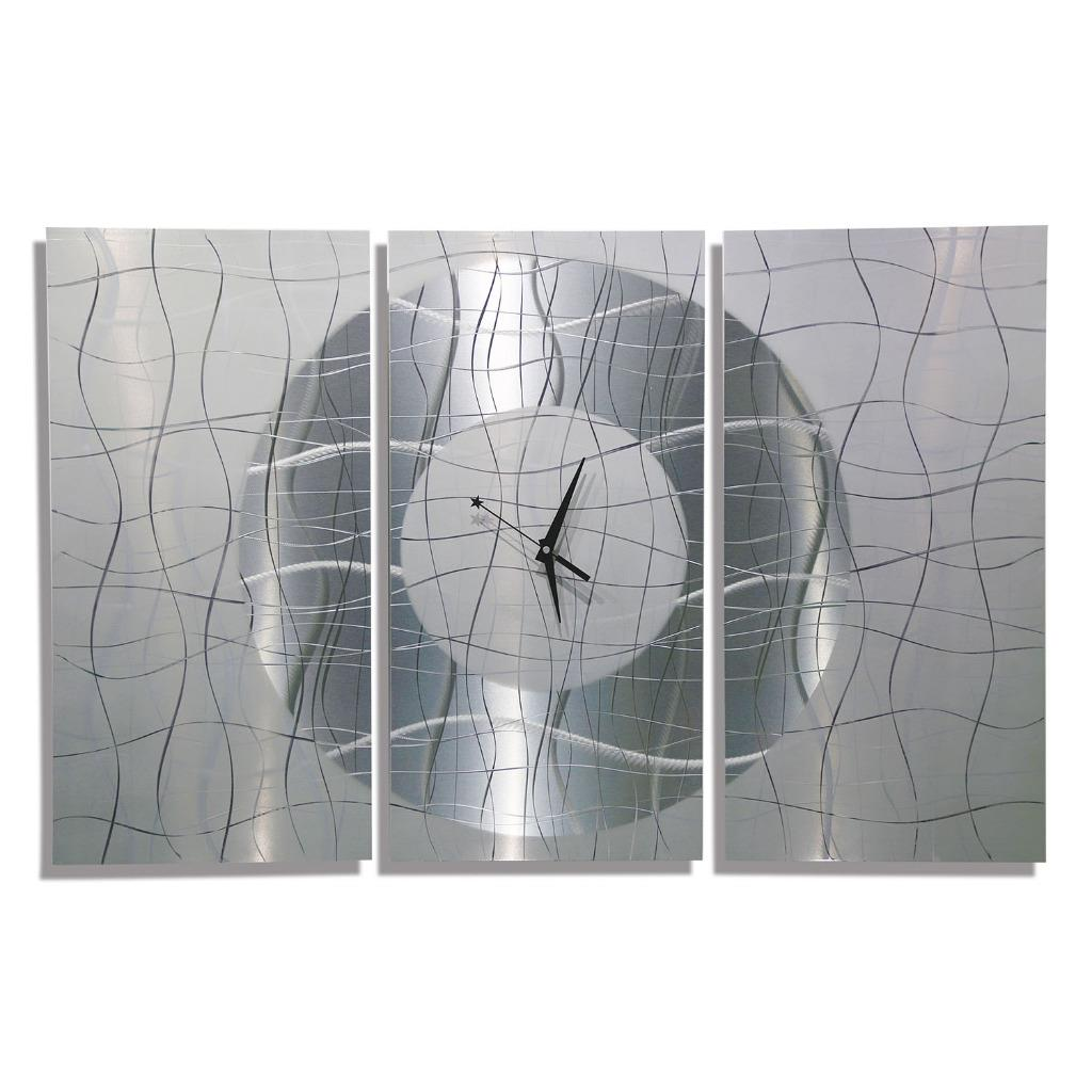 Contemporary Silvers: Large Modern White & Silver Metal Abstract Wall Clock